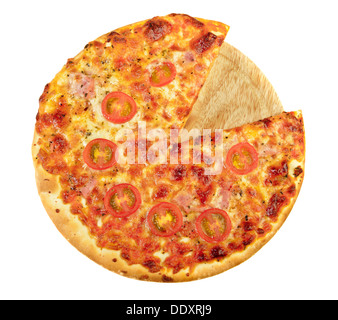 Pizza on kitchen wood board with a slice removed. Isolated on white - Stock Photo
