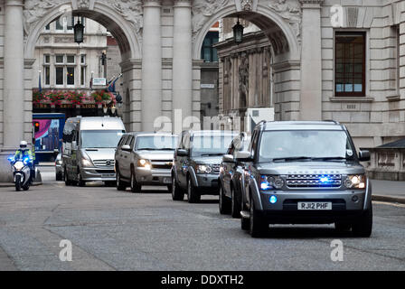 London, UK. 9th Sep, 2013. US Secretary of State John Kerry arrives at the Foreign Office to meet   Foreign Secretary - Stock Photo