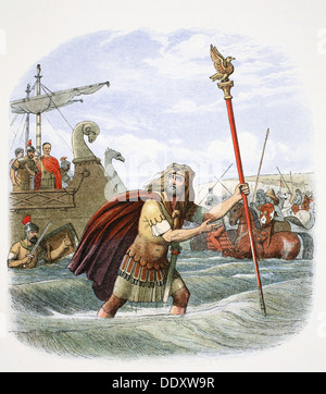 The Roman standard bearer of the 10th legion landing in Britain, 55BC (1864).  Artist: James William Edmund Doyle - Stock Photo