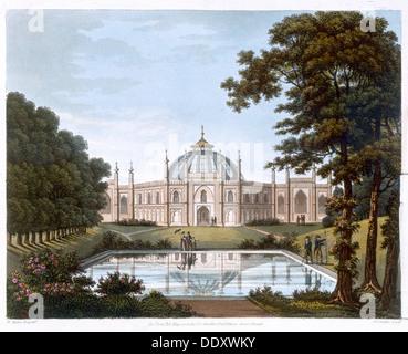 Brighton Pavilion, Sussex, c1816. Artist: Joseph Constantine Stadler - Stock Photo