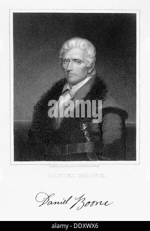 Daniel Boone, American pioneer and hunter, (19th century). Artist: James Barton Longacre - Stock Photo