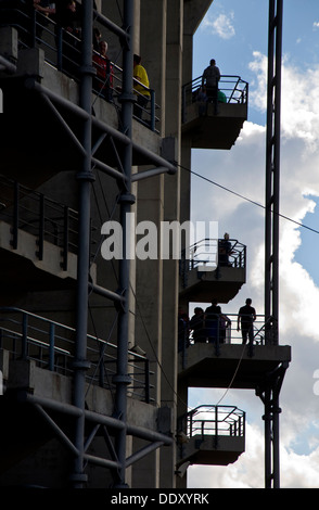 People on stairs and landings at Twickenham Rugby Stadium in south west London England UK - Stock Photo