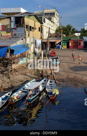 Jetty in town of Tefe, Amazon and Rio Solimões, Tefe, Amazonas State, Brazil - Stock Photo