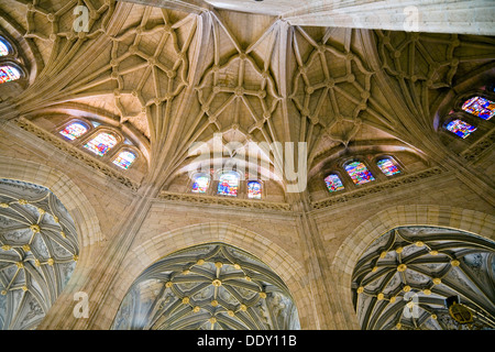 Stained glass windows and vaulted ceilings in Segovia Cathedral, Segovia, Spain, 2007. Artist: Samuel Magal - Stock Photo