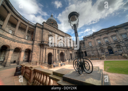 Edinburgh University South College Lothian Scotland UK wide view with antique lamp - Stock Photo
