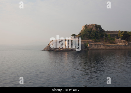 A view of the old fortress in Corfu town from the sea. - Stock Photo