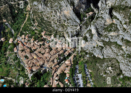 Village of Moustiers-Sainte-Marie, aerial view - Stock Photo