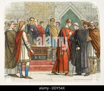King William I pays court to the English leaders, c1066 (1864). Artist: James William Edmund Doyle - Stock Photo