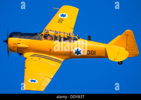 Israeli Air force North American Aviation T-6 Texan single-engine advanced trainer aircraft in flight - Stock Photo