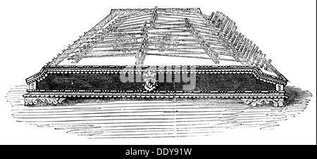 music, instruments, hammered dulcimer, wood engraving, 19th century, musical instrument, musical instruments, stringed - Stock Photo