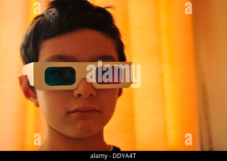 Boy wearing 3D glasses (3) - Stock Photo