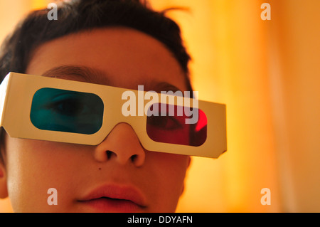 Boy wearing 3D glasses (4) - Stock Photo
