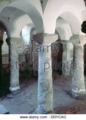 Crypt of St Wystan's church, Repton, Derbyshire. Artist: S Litten - Stock Photo