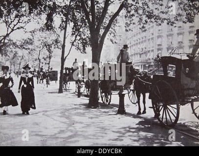 Street scene, New York City, USA, early 1900s. Artist: Unknown - Stock Photo