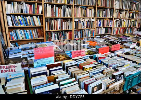 Books at the Auer Dult annual market, Munich, Bavaria - Stock Photo
