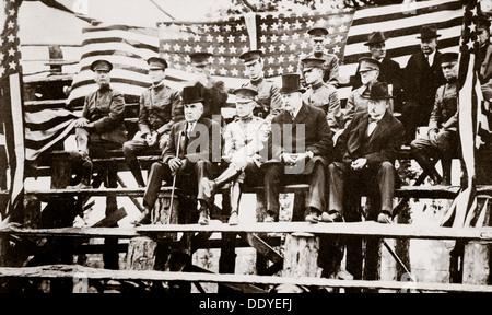 President Warren G Harding at a baseball park, Fort Benning, Georgia, USA, early 1920s. Artist: Unknown - Stock Photo