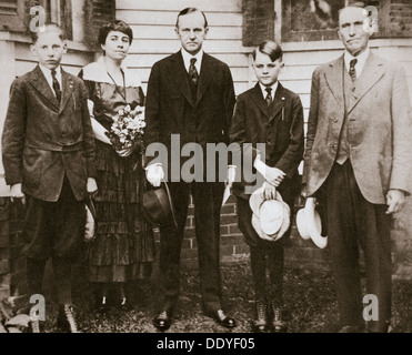 Calvin Coolidge, American politician, with his father, wife, and sons, 1920. Artist: Unknown - Stock Photo