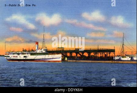 Public dock, Erie, Pennsylvania, USA, 1940. Artist: Unknown - Stock Photo