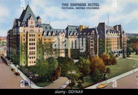 View of the Empress Hotel in Victoria, British Columbia, Canada, 1940. Artist: Unknown - Stock Photo