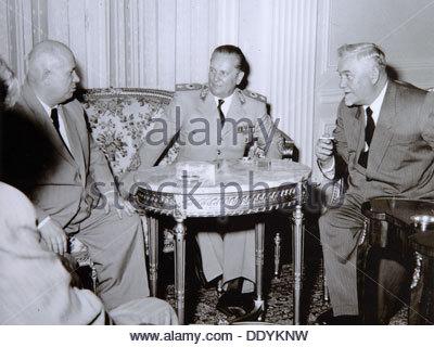 Yugoslav President Josip Broz Tito with Soviet leaders Nikita Khrushchev and Nikolai Bulganin, 1955. Artist: Anon - Stock Photo