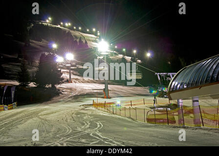 Night skiing, slope in Oberjoch, Upper Allgaeu, Allgaeu, Bavaria - Stock Photo