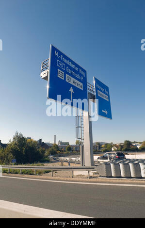 Motorway bridge Munich-North, A9, newly completed construction, signage for the direction of Munich, Munich, Bavaria - Stock Photo