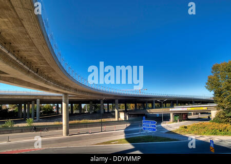 Motorway bridge Munich-North, A9, newly completed after renovation, Munich, Bavaria - Stock Photo