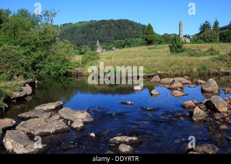 Saint's Kevin's Church, Cathedral and Round Tower at Glendalough (County Wicklow), Ireland - Stock Photo