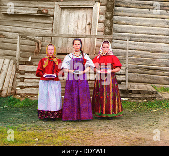 Young Russian peasant women, Sheksna River, near the small town of Kirillov, Russia, 1909. Artist: Sergey Mikhaylovich - Stock Photo