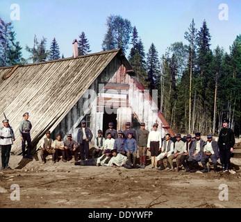 Austro-Hungarian prisoners of war near a barracks, Karelia, Russia, WWI, 1915.  Artist: Sergey Mikhaylovich Prokudin - Stock Photo