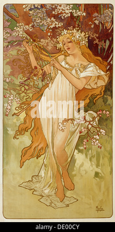 'Spring', 1896.  Artist: Alphonse Mucha - Stock Photo