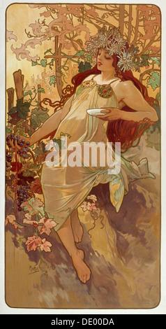 'Autumn', 1896.  Artist: Alphonse Mucha - Stock Photo