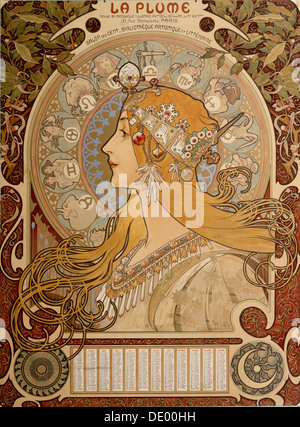 Zodiacal calendar, 1897.  Artist: Alphonse Mucha - Stock Photo