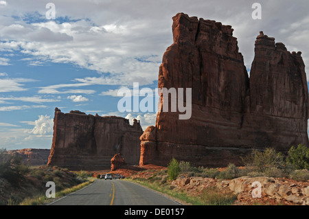 Scenic drive going through Arches National Park in Utah near Petrified Dunes - Stock Photo