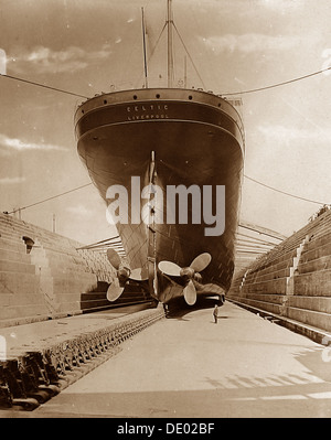 White Star Line RMS Celtic in dry dock early 1900s - Stock Photo