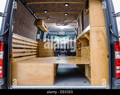 Interior View Of Mercedes Benz Sprinter Cargo Van 2500 Being Customized As A Camper