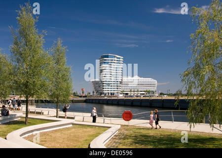 Marco Polo Tower with the Unilever Building in HafenCity, Hamburg - Stock Photo