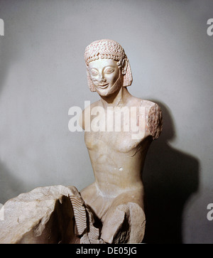Marble figure of a horseman, Ancient Greek, Archaic period, c560 BC. Artist: Werner Forman - Stock Photo