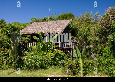 Simple palm bungalow on Mango Bay Beach, Phu Quoc Island, Vietnam, Asia - Stock Photo