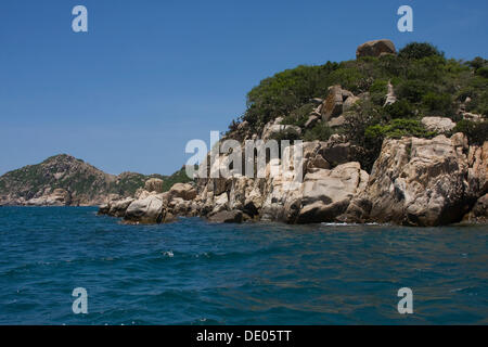 Coastal landscape with fishing boats near Vinh Hy, Vietnam, Asia - Stock Photo