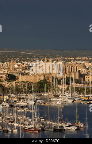 View of the harbor, the historic district and the cathedral, Palma de Majorca, Majorca, Spain, Europe - Stock Photo