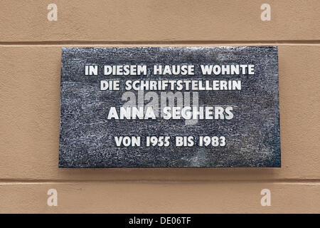 Plaque, the writer Anna Seghers lived in this house from 1955 to 1983, Adlershof, Berlin - Stock Photo