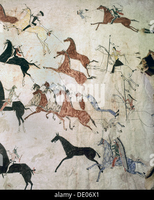 Painting on hide depicting a horse-stealing raid, Native American, Plains Indian, c1880. Artist: Werner Forman - Stock Photo