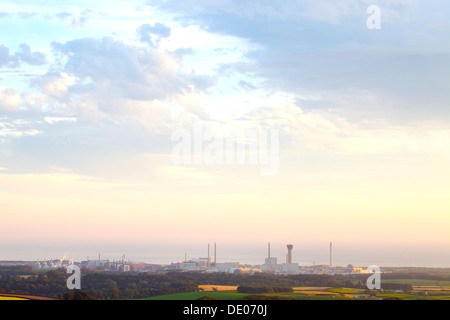Sellafield nuclear power station in the evening light with the sea behind Cumbria England United Kingdom Great Britain - Stock Photo