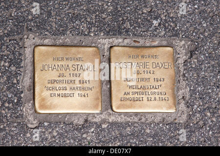 Stolperstein memorial, German for stumbling block, woman deported 1941 to Schloss Hartheim, murdered in 1941, and - Stock Photo