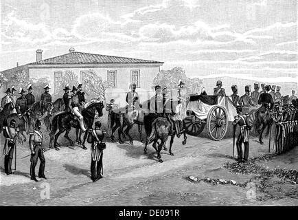 The burial of Lord Raglan near Sevastopol, Crimea, Russia, 1855.  Artist: William Simpson - Stock Photo