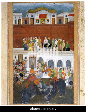 Miniature painting depicting Shah Jahan in the Red Fort at Agra, Mughal, India, 17th century. Artist: Werner Forman - Stock Photo