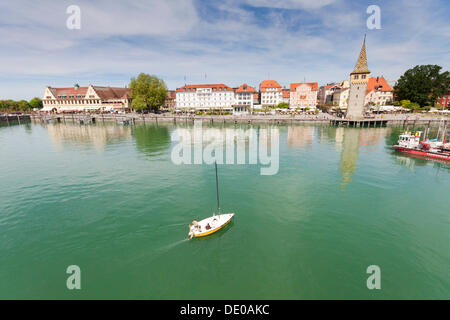 Harbour of Lindau on Lake Constance with the Mangturm or Mangenturm tower, Lindau, Bavaria, PublicGround - Stock Photo