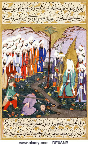 Ali Beheading Nadr ibn al-Harith in the Presence of the Prophet Muhammad (Miniature from Siyer-i Nebi - The life - Stock Photo