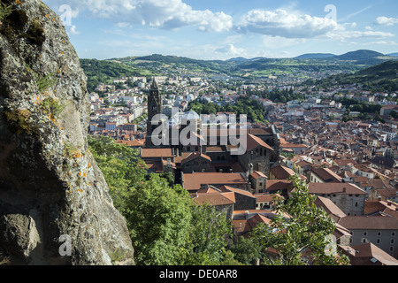 View from Corneille Rock towards the Cathedral of Notre Dame du Puy in Le Puy-en-Velay in Auvergne region of France - Stock Photo